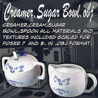 creamer sugar cream 3d obj