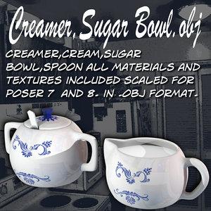 creamer sugar cream 3d obj