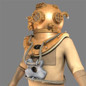 old diver 3d model