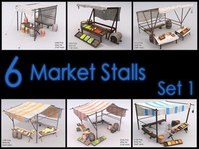 3d model market stall
