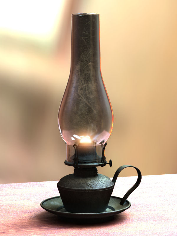 oil lamp candle 3d model