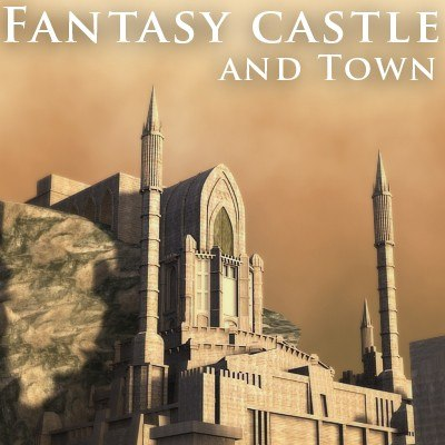 fantasy castle town 3d model