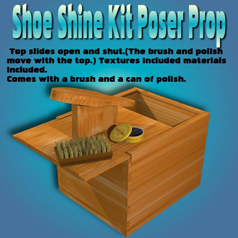 3d shoeshinekit poser prop shoe