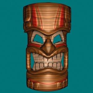 hawaiian tiki mask ocean 3d model