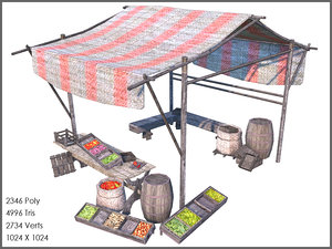 3d model vegetables stall