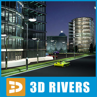 3d model city business area office buildings
