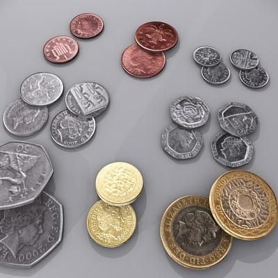 3d model british coin
