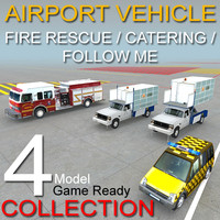 Airport vehicles collection 4 Model Fire,Rescue,Catering,follow me