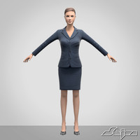 female character office woman 3d model