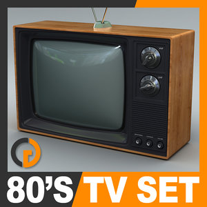 retro style 80 television set 3d model
