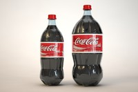 Coke 2 liter and 1 liter bottles with studio lighting