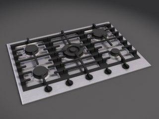 5 burner 3d model