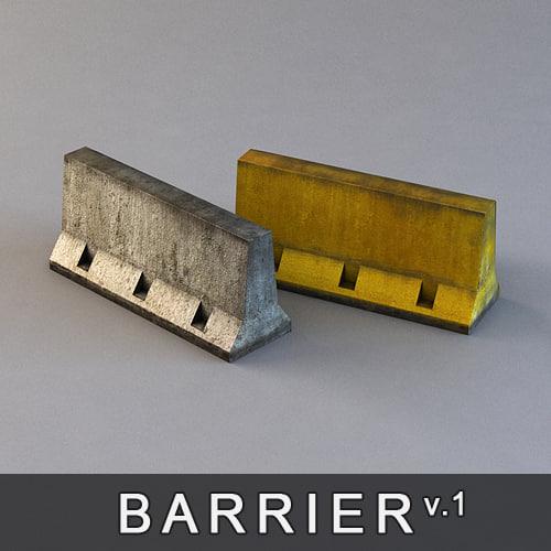 D concrete barrier road block