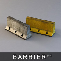 3d concrete barrier road block