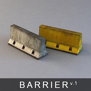 3d concrete barrier road block