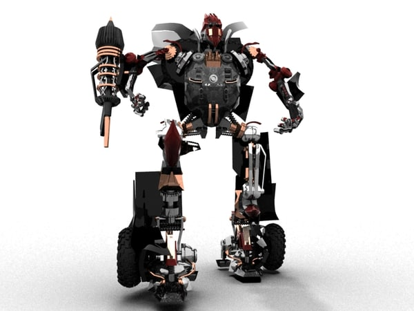 animation robot transformation dodge viper 3d model