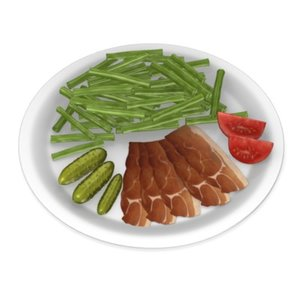 3d food beans ham