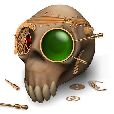 skull style steampunk 3d model