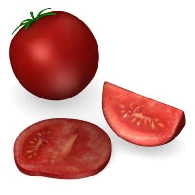 3d model tomato cuts