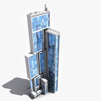 3d model of stylish architectural skyscraper