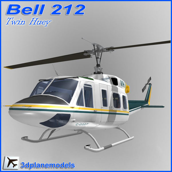 bell 212 huey helicopter 3d model