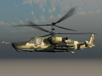 KA-50 Hocum Russian Attack Helicopter Gunship Game Ready Model