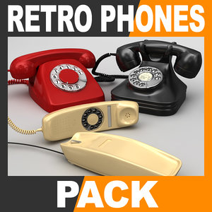 retro style telephones pack 3d dxf