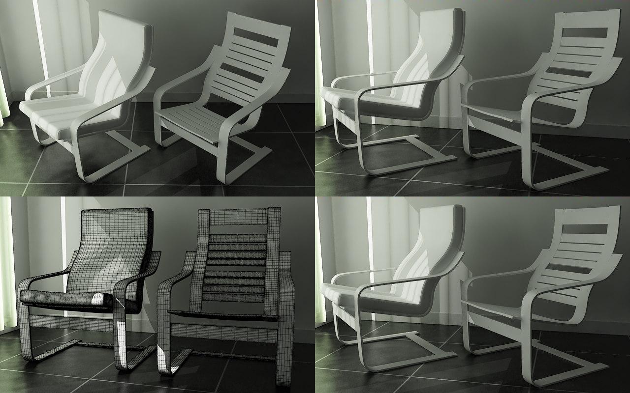poang chair 3d max