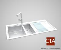 stainless steel sink 3d model