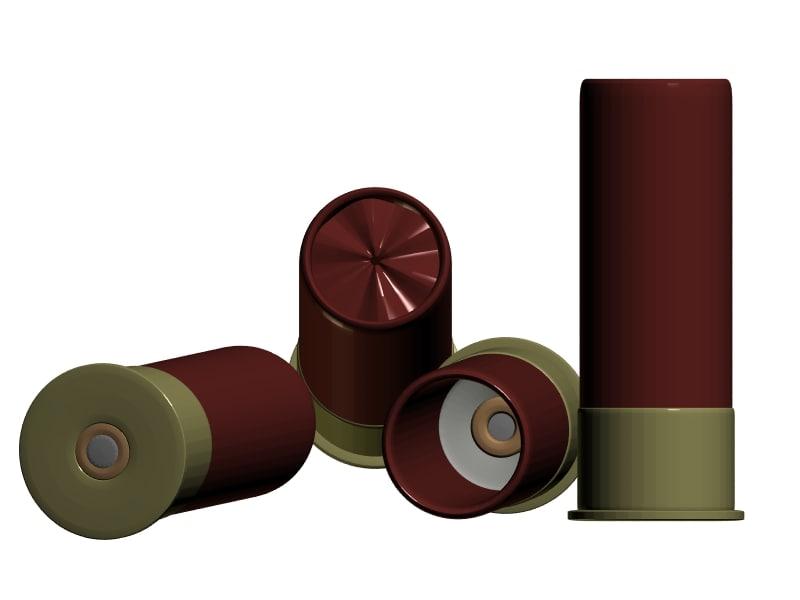 3d model detailled 12 shotgun cartridje