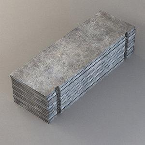 concrete plate slab 3d model