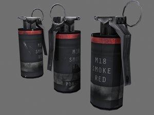 red smoke grenade 3d model