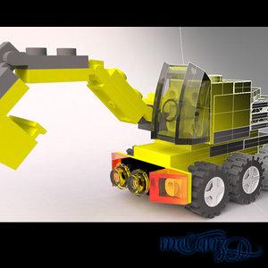 lego rhino pieces 3d model