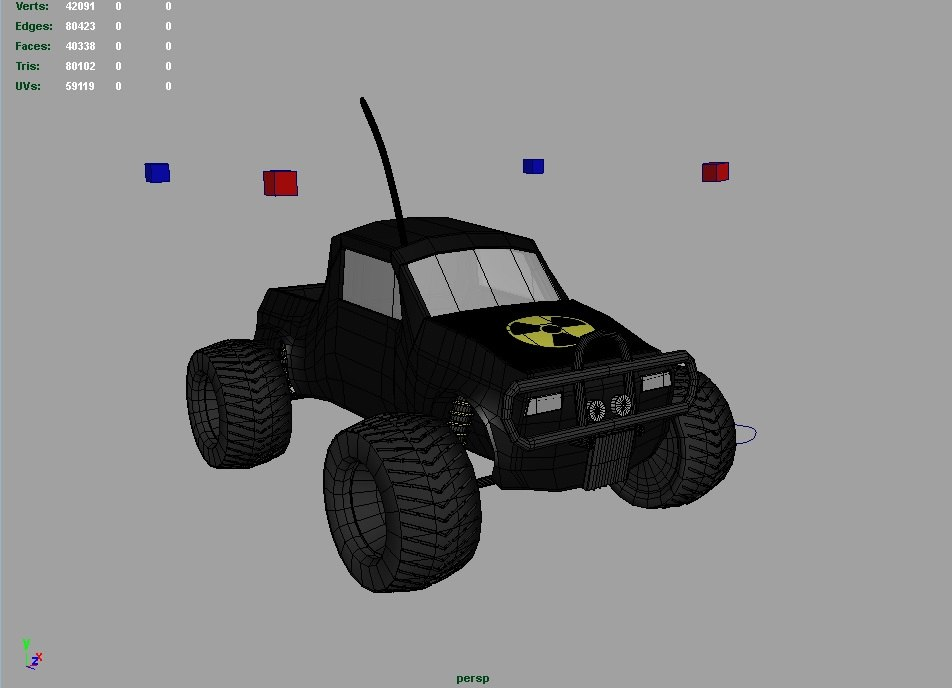 fully rigged rc monster truck 3d model