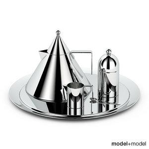 3d model set alessi il conico