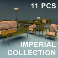 armchairs sofa tables 3d model