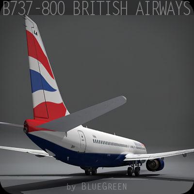 boeing 737-800 plane british airways 3d model
