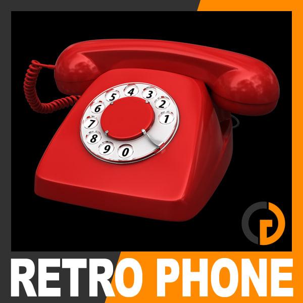 3d retro style telephone - model