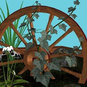 rock plants wagon wheel obj