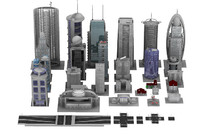 buildings parts 3d obj