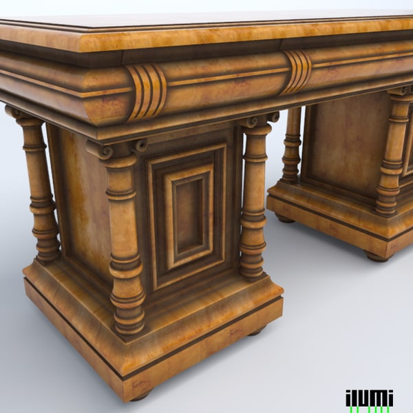 3d baroque style writing desk