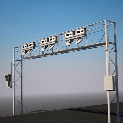 toll bridge highways 3d model