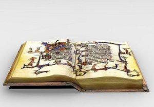 medieval book 3d model