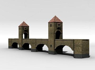 3d model medieval bridge
