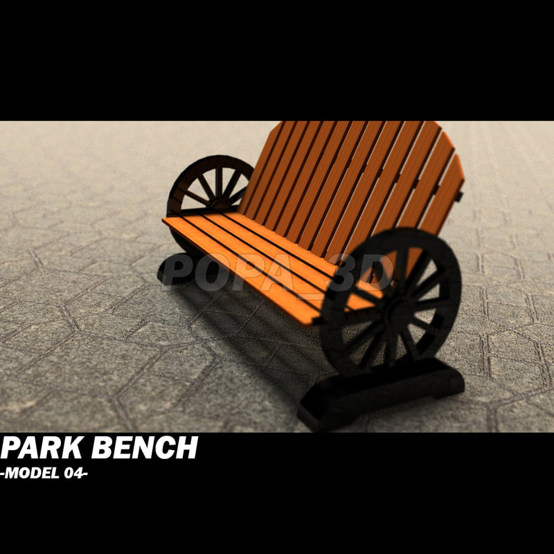 wooden park bench obj