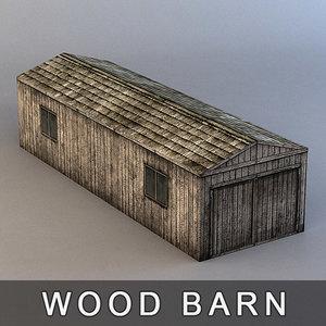wood barn 3d obj