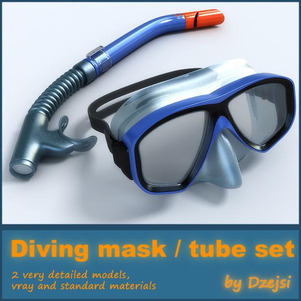 diving tube mask 3d model