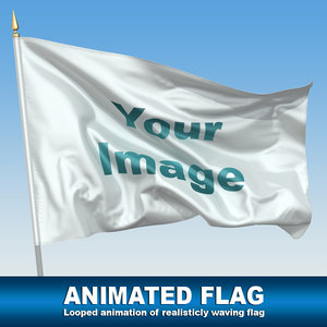 3d animation waving flag model