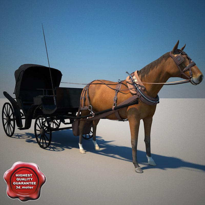horse carriage v2 3d model