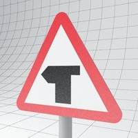 traffic junction ahead left 3d ma